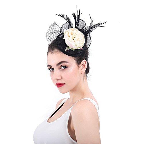 Jklj Pince à Cheveux Coiffe De Plumes Chapeau de Cocktail élégant de Femmes Fleur Net Mesh Hairpin Rétro