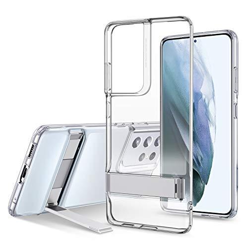 ESR Cover con Cavalletto in Metallo Compatibile con Samsung Galaxy S21 Ultra 5G 2021, Silicone Sottile Cristallino, Supporto Verticale e Orizzontale, Trasparente