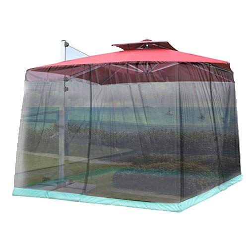 juman Patio Umbrella Mosquito Netting, Outdoor Garden Umbrella Table Screen Parasol Mosquito Net Cover Zippered Mesh Enclosure Cover for Outdoor Garden Yard Camping