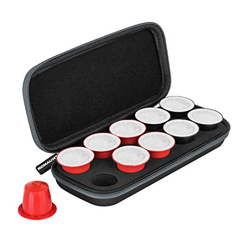ROMAUNT Travel Carrying Case Compatible with Nespresso OrignalLine Capsules, Accessory for Portable Espresso Maker Protective Coffee Pods Holder with Foam PU Material Hold 10 Pods(black)