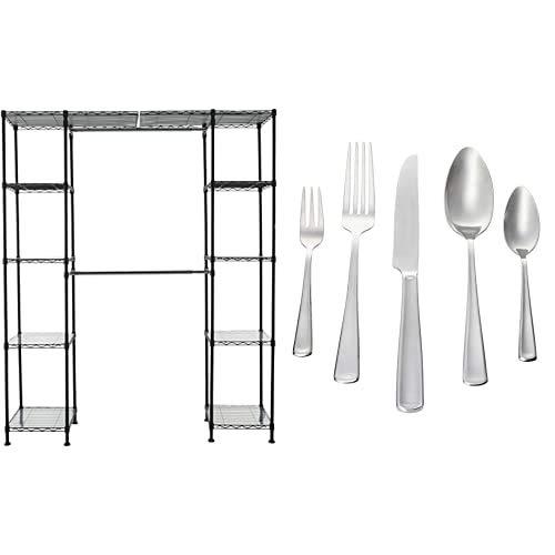 Amazon Basics Sistema organizador de armario extensible, Negro + Juego de cubertería, 12 servicios, 60 piezas, color plateado [estilo moderno]