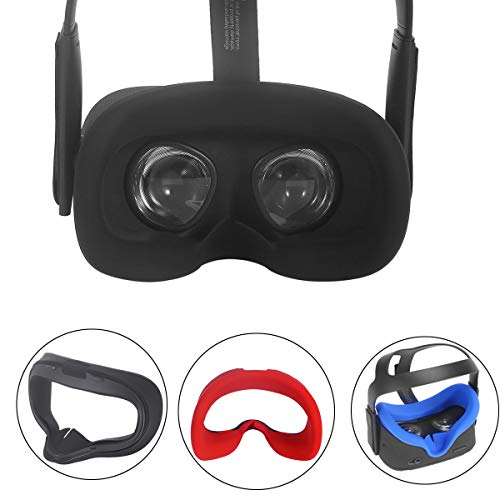 Esimen VR Face Silicone Pad Mask & Face Cover for Oculus Quest Cushion Cover Sweatproof Lightproof (Black)