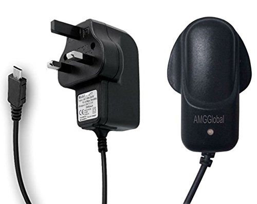 AMGGLOBAL Universal Micro USB Mains Charger 8600 - 2000mAh CE Approved UK Plug for Various Phone Models - For BlackBerry HTC LG Motorola Nokia Samsung Galaxy S2 S3 S4 S5 S6 S6 EDGE S6 EDGE PLUS and Sony Ericsson HTC Mobile Phone Range - One S V X Desire C HD S V X Z Sensation XE XL Wildfire S, Rhyme Radar Explorer Incredible S. Samsung Galaxy S5 S4 S3 Note 3 2 Tab 3 Nokia Lunia 520 1020 920 Moto G Google Nexus 5 7 10 Android/Windows Smartphones External Battery