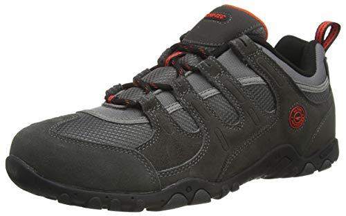 Hi-Tec QUADRA II, Zapatillas para Caminar Hombre, Carbón Zingy Rojo, 41 EU