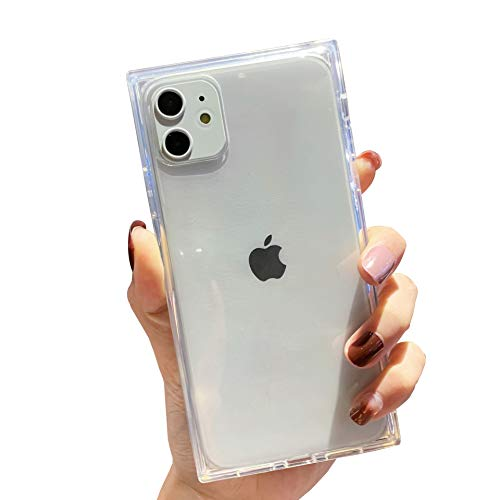iPhone 11 Clear Case,Tzomsze Square iPhone 11 Cases Reinforced Corners TPU Cushion,Crystal Clear Slim Cover Shock Absorption TPU Silicone Shell for iPhone 11 6.1 inch (2019)-Clear
