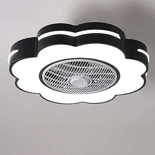 FREELT Luces de Techo LED Redondo con Ventilador de Techo, Ventilador Integrado con lámpara, Control Remoto, Regulable, 2 direcciones, 3 Niveles de Velocidad, lámpara de Techo,Negro
