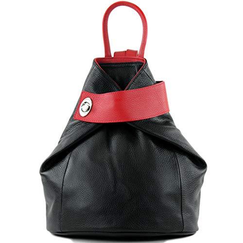 modamoda de - T179 - ital: Damen Rucksack Tasche aus Leder, Farbe:Schwarz/Rot