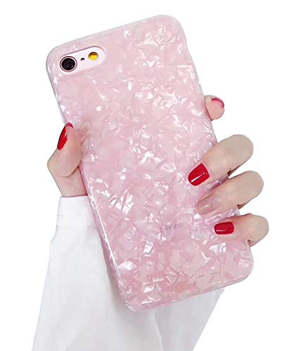 Dailylux iPhone 6 Case,iPhone 6S Case,Glitter Pearly-Lustre Translucent Shell Pattern Sparkle Bling Crystal Clear Soft TPU Back Protective Phone Case Cover for iPhone 6/6S 4.7' Girls Women,Pink