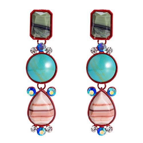 BoMiVa Pendientes Pendientes exagerados de Europa y América Pendientes de Diamantes de múltiples Capas de Resina Joyería de Moda Simple con Pendientes de Estilo INS for Mujeres (Color : Color)