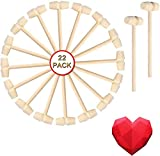 Fvntuey 22 Pieces Mini Wooden Hammers Mallet Pounding Toy Educational Toy for Boys Girls, Breakable Chocolate Heart Tool