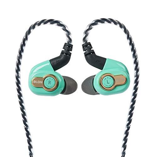 BLON BL05S - Auriculares de diadema con diafragma de carbono de 10 mm, con mando dinámico, bajo HiFi DJ en el monitor de oído, auriculares con cable desmontable (verde sin micrófono)