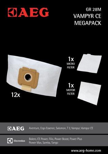 AEG GR28M Staubsaugerbeutel MegaPack (12 Synthetik Staubbeutel, 1 Motorfilter, 1 Mikrofilter, optimale Filtration und dauerhaft starke Saugleistung, +50% Lebensdauer, u. a. für Vampyr CE, weiß)