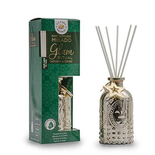 La Casa de los Aromas, Ambientador Mikado Decorativo GLAM RITUAL, Aroma Geranio & Cedro, Aroma Duradero para el Hogar, Baño, Casa - 100 ml