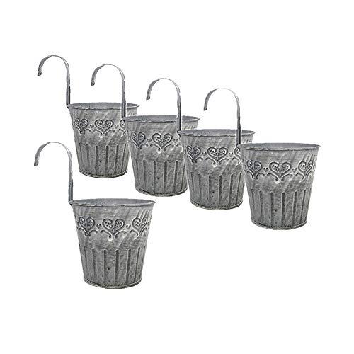 Leoyoubei Vintage Feel 4.25Diameter-5 Pack Metal Iron Flower Pot Vase Wall Fence Hanging Balcony Garden Patio Planter Home Decor-Artificial Flower pots Vase Decoration Gray