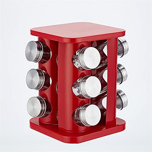 Herramienta de cocina Caja de condimento Estante de acero inoxidable 12 / PCS Condimento de vidrio Contenedor Especia Almacenamiento Al aire libre Barbacoa Caja de condimentos (Color : Red)