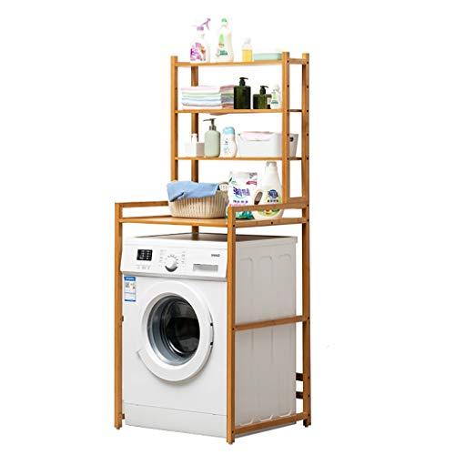 Machine shelf Estante for lavadora de 4 capas de madera de bambú balcón armario de lavandería tambor estante for lavadora estante de almacenamiento, estante de almacenamiento multifunción estante de b