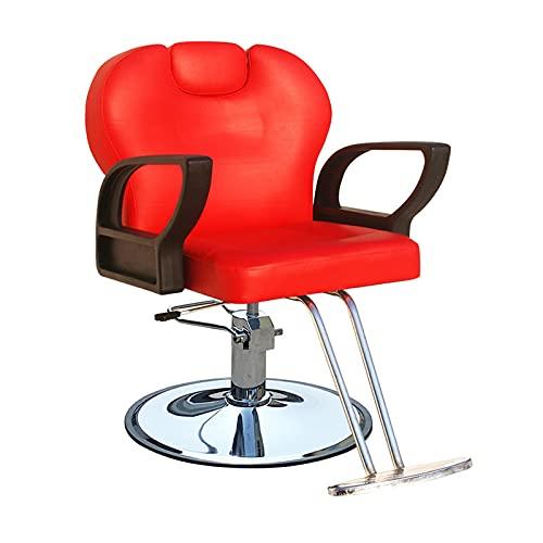 FLAMY Sillon barbero,Sillón de salón hidráulico reclinable de Servicio Pesado Giratorio/Ajustable para peluquería,champú de SPA,Equipo de Belleza, con reposacabezas,Negro