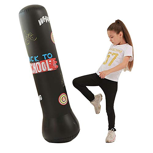 YZU Fitness Punch Bag, Inflatable Free Standing Punching Bag for Kids, MMA Punching Kick Training Bop Bag, Best Boxing Equipment for Training,150cm