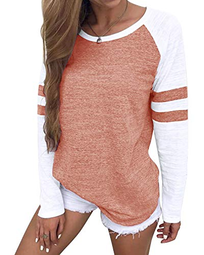 YOINS Pulli Damen Langarmshirt Sweatshirt mit Streifen Rundhals Ausschnitt Oversize Hemd, Streifen-rosa, Gr.- S/ 36-38