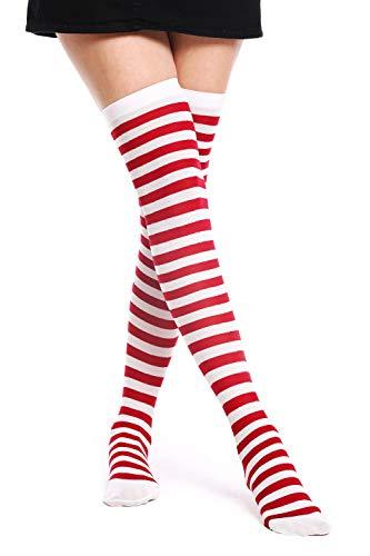 dressmeup BB-073-white&red Strümpfe Damenstrümpfe Overknees Halloween Karneval Ringelstrümpfe Rot Weiß gestreift