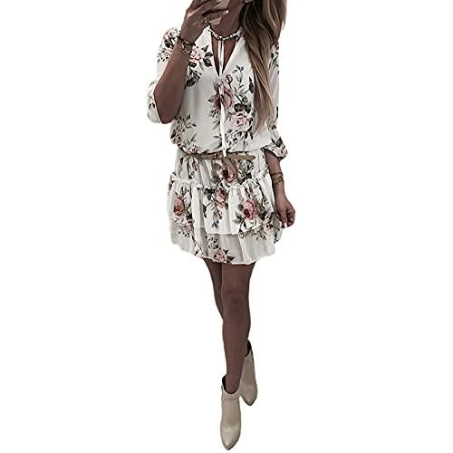 I3CKIZCE Vestito Mini Donna da Cocktail Casual Scollo a V Stampa Floreale Maniche Corte Coulisse Spiaggia Mare Sexy Vintage Elegante (Bianco, XXL)