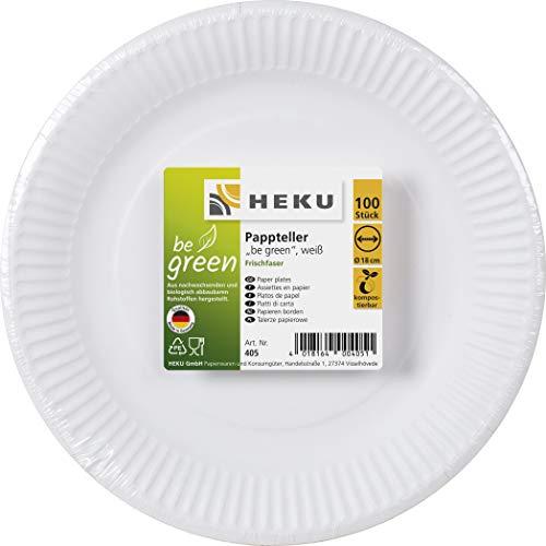 HEKU 30405-1: 100 Pappteller, weiß, rund, Ø 18cm, 100% Frischfaser ohne Beschichtung