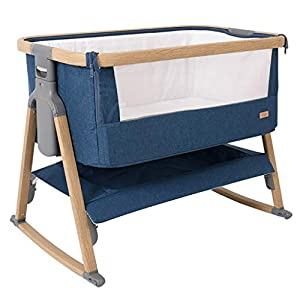Rocking Chair Baby Crib Natural Cotton Sleeping Cradle Portable Cot Folding Rocking Bassinet Bedside Sleeper Baby Nest Suitfor 0-36 Months Nursery Bed (Color : Blue 2)