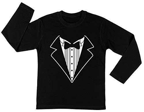 Nep Tux Smoking Pak Stropdas Unisex Kinder Jongens Meisjes Lange Mouwen T-shirt Zwart Unisex Kids Boys Girls's Long Sleeves T-Shirt Black