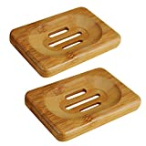 UnderReef Soap Dish Bamboo Soap Holder (2 Packs Soap Dish Rectangle)