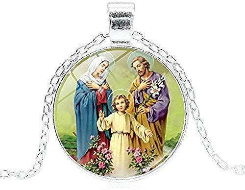 BACKZY MXJP Collar 2019 Santísima Virgen María Madre del Bebé Collar Jesús Cristiano Colgante Católico Religioso Cristal Jesús Collar Mujeres