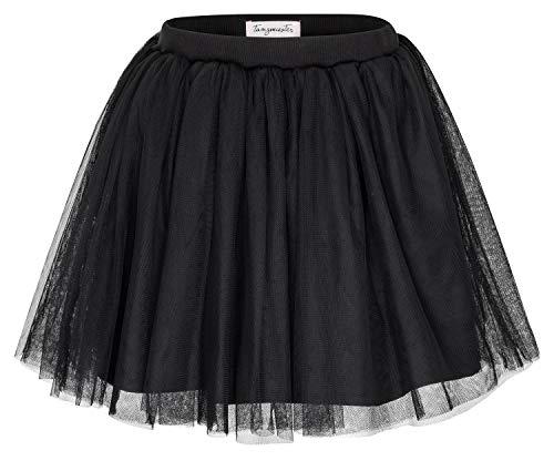 tanzmuster Kinder Tüllrock 'Little Ballerina' mit 3 Lagen weichem Tüll und Unterrock in schwarz - Blickdicht, Größe:104/110