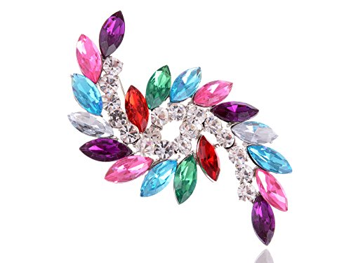 Alilang Colorful Pink Purple Rose Crystal Rhinestone Swirl Leaf Autumn Fall Pin Brooch