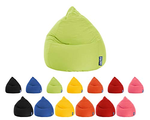 lifestyle4living Sitzsack für Kinder und Jugendliche, Grün, Microfaser Bezug | Pflegeleichter und bequemer Beanbag Easy XL Liegesack 220l