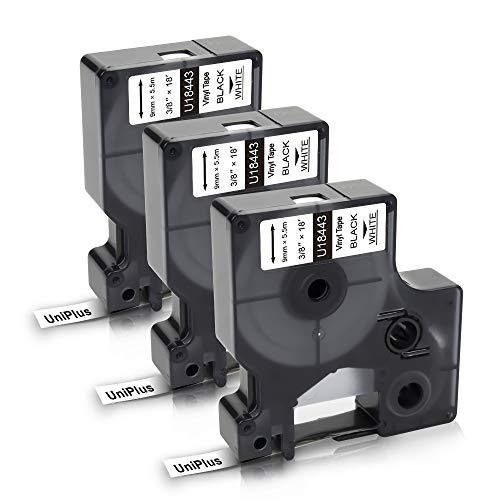 UniPlus 3 Pack Kompatible Schriftband als Ersatz für Dymo 18443 Rhino-Industrie-Vinyletiketten Etikettenband 9mm Schwarz auf Weiß für Etikettendrucker Dymo Rhino 4200,5000,5200,6000