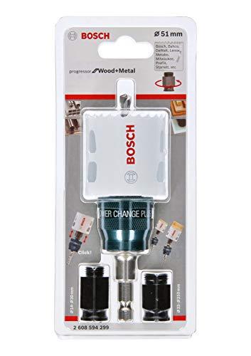 Bosch Home and Garden Bosch 2608594299 Professional - Sierra de corona Progressor para madera y metal (juego de iniciación para madera y metal, diámetro de 51 mm, accesorio para taladro de broca)
