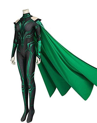 CXYGZLJ Mujer Mrs.Jumpsuits con Manto Verde, Estiramiento Impreso 3D Onesies Thor 3 Cos Death Diosa DE LA Muerte HELA Bodysuit Adulto Disfraz de Deluxe,M 165~170cm