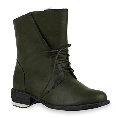 Damen Stiefeletten Worker Boots Stiefel Stiefel Schuhe 127668 Dunkelgrün Bernice 36 Flandell