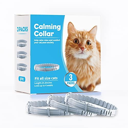 Kaspiu Collar calmante para gatos, feromona, calma y ansiedad, para gatos y gatitos, alivio del estrés, relajante, cómodo, diseño gris