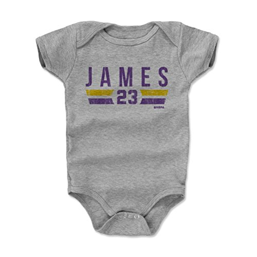 500 LEVEL Lebron James Los Angeles Baby Clothes, Onesie, Creeper, Bodysuit (Onesie, 12-18 Months, Heather Gray) - Lebron James Los Angeles Font