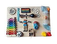 木製の子供の忙しいボードおもちゃ、子供の成長のための親の子供の相互作用の贈り物、モンテッソーリ就学前の教材のおもちゃ