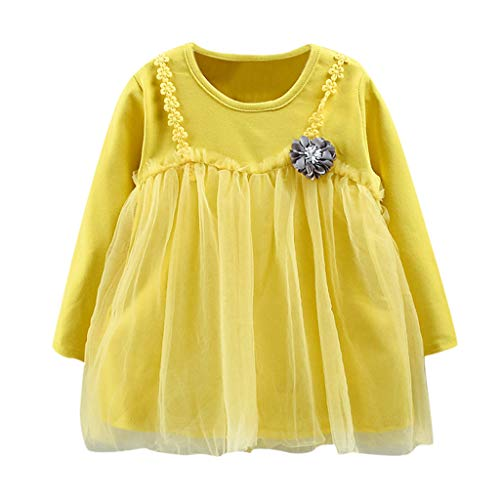 Proumy Mode Baby Mädchen Kleidung Kinder Mädchen Langärmliges T-Shirt-Top Kleid Kleinkinder Baby Geburtstag Tüllkleid Mädchen Tüllrock (Gelb,Recommended Age:12-18 Months)