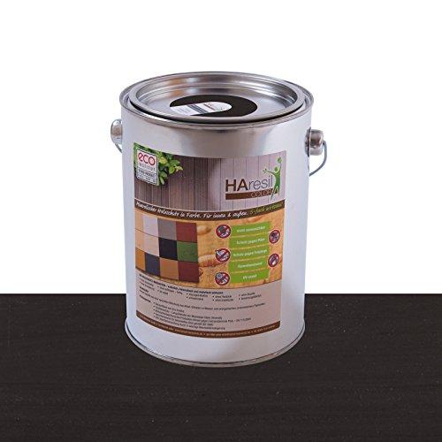 Bio Holzschutz farbig Schwarz Holzschutzlasur HAresil Color 2kg Eimer Wetterschutzfarbe Dauerschutzfarbe matt Holzwurmfrei,Pilzbekämpfung für Innen und Außen (Schwarz)