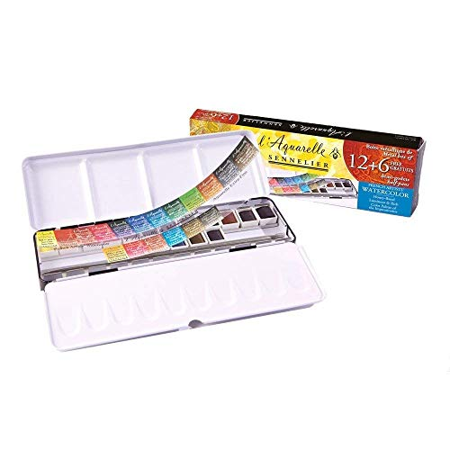 Sennelier - L'Aquarelle Watercolor Paint Set (18 Half Pans) with Sturdy Metal Palette Box | Enhanced Honey Content Pigments for Artist Quality Paints