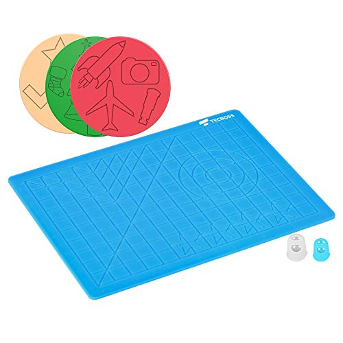 TECBOSS 3D Pen Mat, 3D Printing Pen Pad Silicone Template with Bonus 3 Patterns Mat 2 Finger Protectors, Best Tools for 3D Drawing, Gift Box