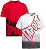 TapouT Boys' Active T-Shirt – 2 Pack Short Sleeve Cotton Graphic Tee (Little Boy/Big Boy), Size 10/12, Red/White
