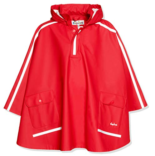 Playshoes Kinder Regencape, leichter Regenponcho, mit extra langem Rücken und abnehmbarer Kapuze, Rot (rot), 128