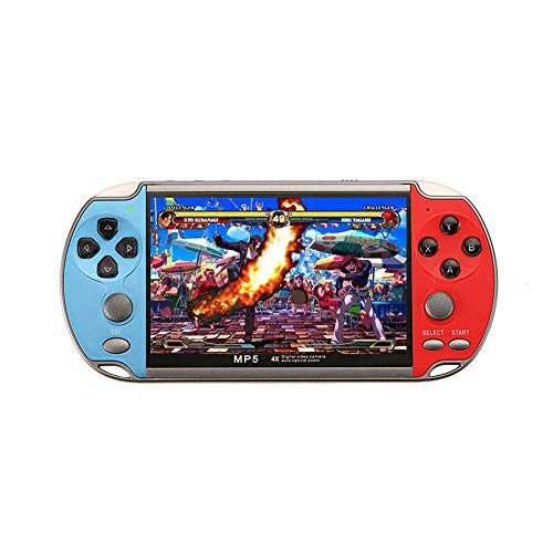 4.3-inch X7 PSP Handheld Game Console with More Than 10,000 Games Built in Supports Photos can Play MP3 MP4 e-Book Games Download 8GB Best Gift (Blue&Red)