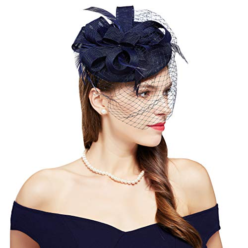 BABEYOND Feder Fascinators Hut Damen Blumen Schleife Mesh Hochzeit Braut Elegant Fascinator Haarreif Cocktail Tee Party Damen Fasching Kostüm Accessoires (Dunkelblau)