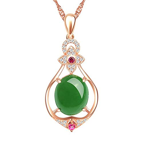 PINGGUO Natural Verde Jade Calcedonia Oval Colgante 925 Collar Chino Tallado Charm Joyería Moda Amuleto Regalos Para Mujeres