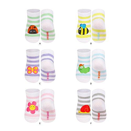 soxo Calcetines para Bebé Niños con parche, 6 Pares | Talla 16-18 | calcetines de colores divertidis para chicos y chicas | cómodos de algodón